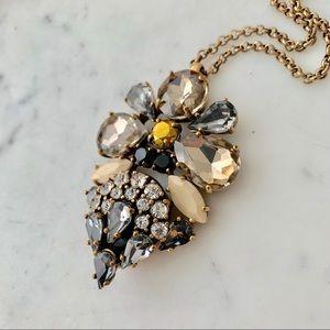 J.Crew black gray gold pendant necklace